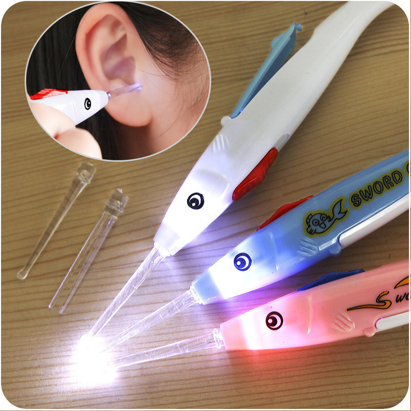 1pcs Luminous Baby Child Ear Cleaning Spoon Safe Flash Lighting Ear Pick Spoon Creative Ear Cleaning Tool Earwax Digging