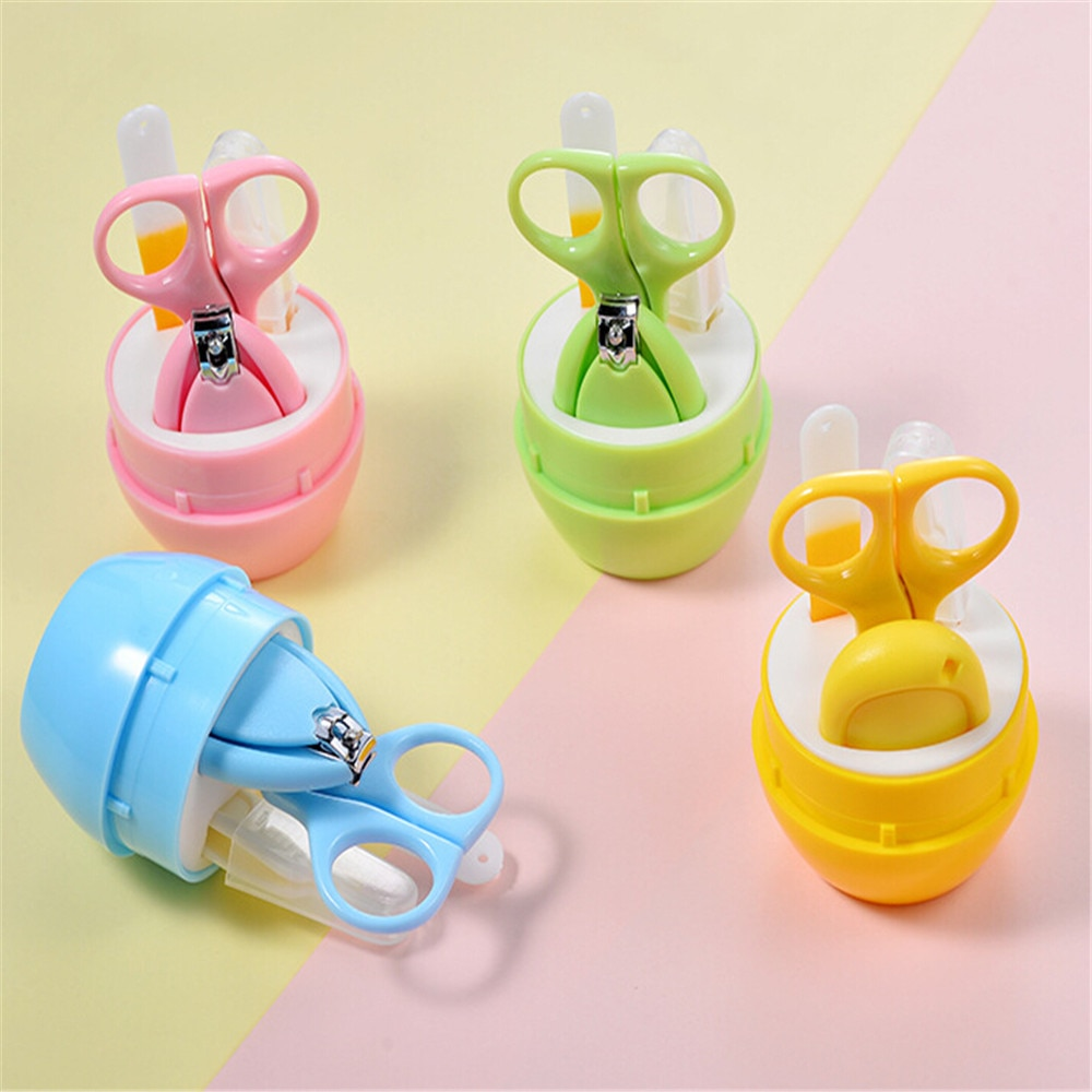 Nail Care Set Reusable 4PCS Cute Portable Newborn Baby Kids Solid Nail Clipper Nail FileSet Health Care Accessories Nail Care