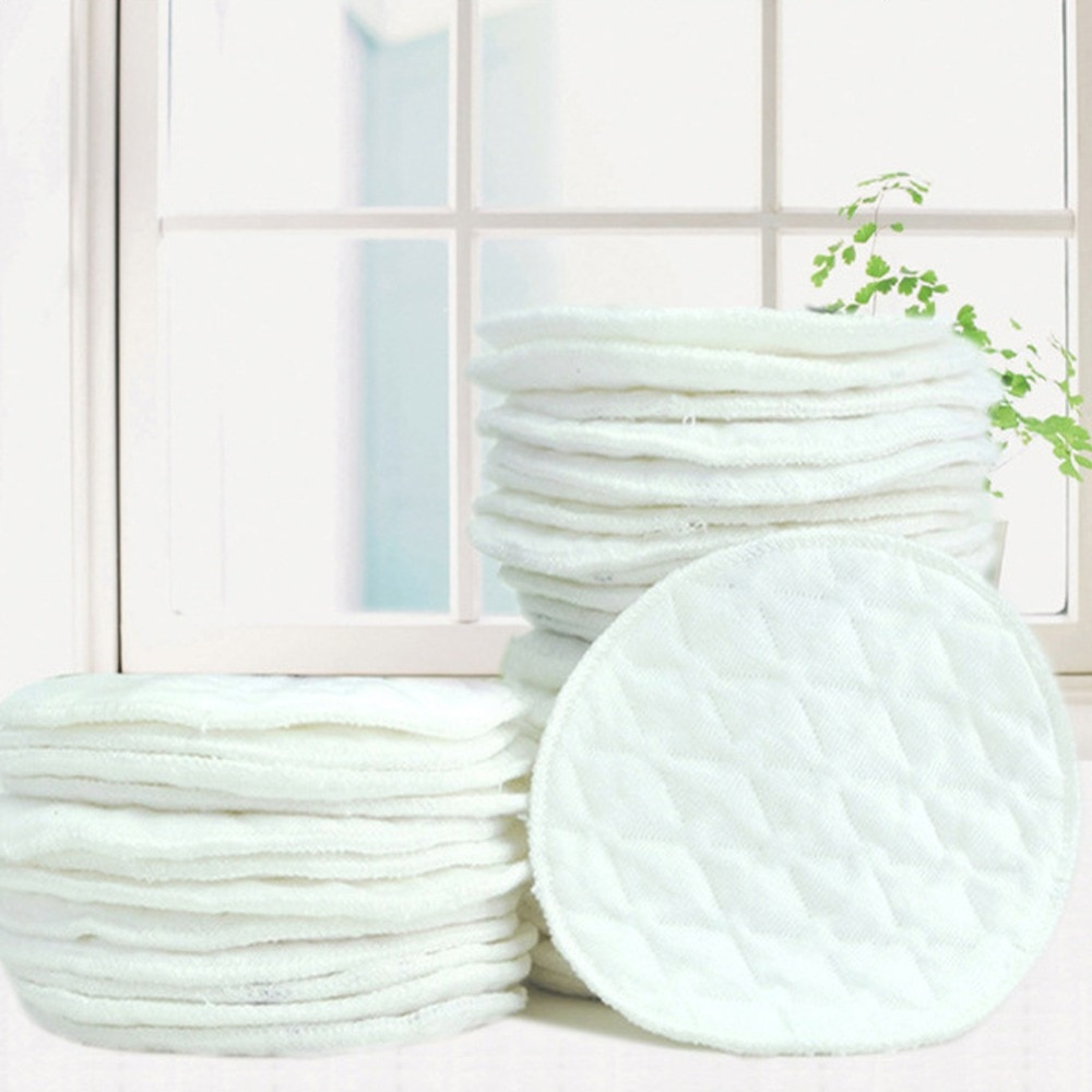 12Pcs(6 pairs) 3 layers cotton Reusable Breast Pads Nursing Waterproof Organic Plain Washable Pad Baby Breastfeeding Accessory