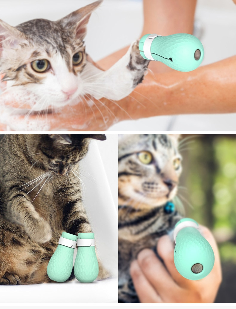 Adjustable Pet Cat Paw Protector for Bath Soft Silicone Anti-Scratch Shoes Cat Grooming supplies Checking Cat Paw Cover