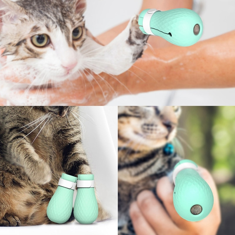 Pet Cat Paw Protector for Bath Soft Silicone Anti-Scratch Cat Shoes Boots Adjustable Shower Checking Cat Paw Cover 4pcs