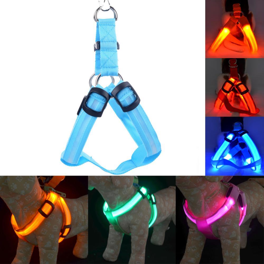 Nylon Pet Safety LED Harness Dog Product Flashing Light Harness LED Dog Harness Leash Rope Belt LED Dog Collar Vest Pet Supplies