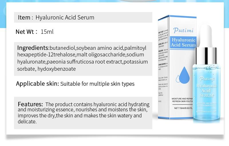 PUTIMI Hyaluronic Acid Face Serum Moisturizing Anti-Wrinkle Anti Aging Collagen Shrink Pores Face Essence Whitening Face Cream