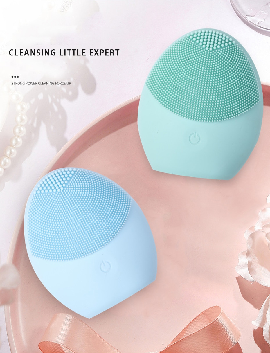 LAIKOU Silicone Face Cleansing Brush Electric Face Cleanser Electric Facial Cleanser Cleansing Skin Deep Washing Massage Brush