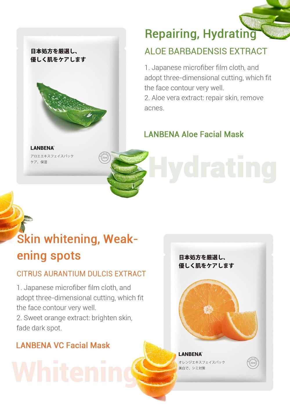 LANBENA Skin Care Face Mask Plant Facial Moisturizing Serum Fruit Blackhead Remover Essence Whitening Anti Aging Beauty Makeup