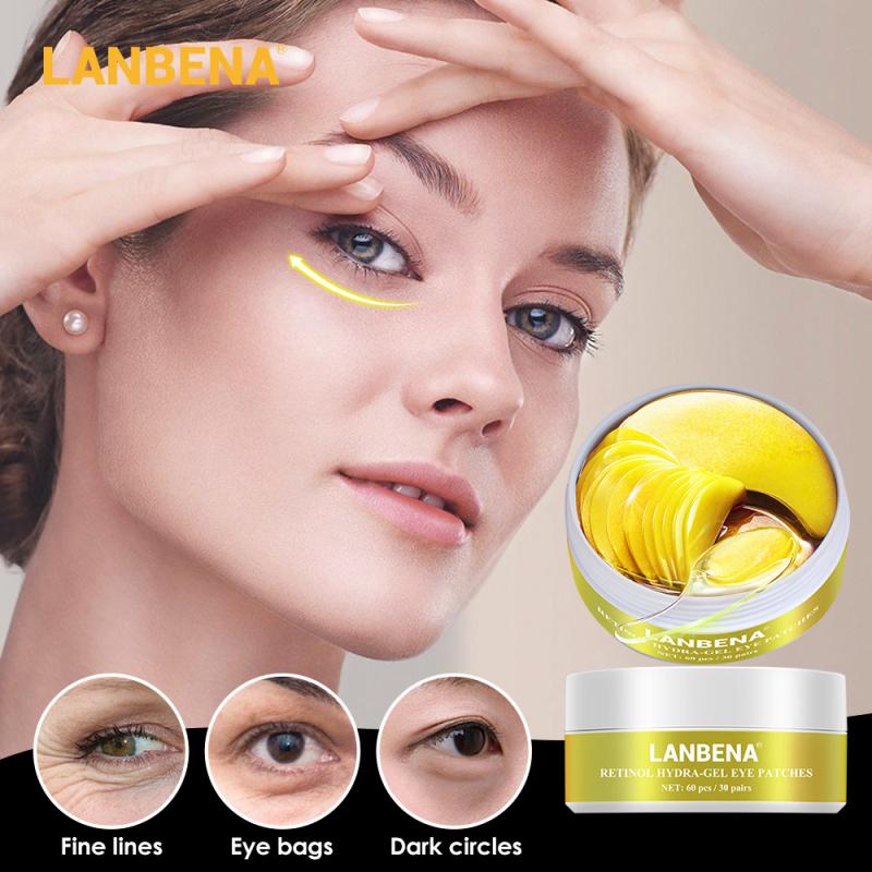 60Pcs Eye Patches Mask Retinol/Hyaluronic/Vitamin C/Black Pearl Hydra-Gel Eye Mask Remove Dark Circles Moisturizing Care TSLM2
