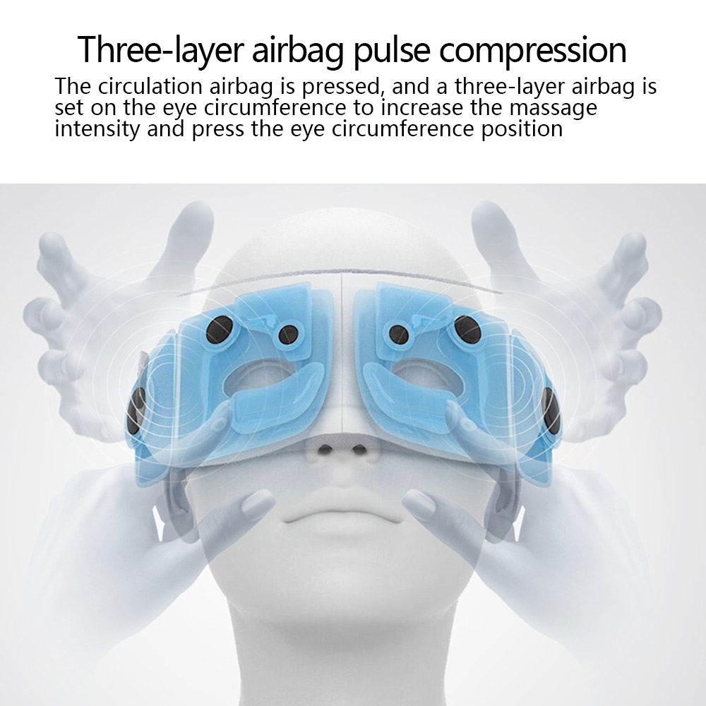 Beurha Dropshipping Vibration Eye Massager Wrinkle Fatigue Relieve Hot Compressing Air Pressure Therapy Massage Eye Care Device