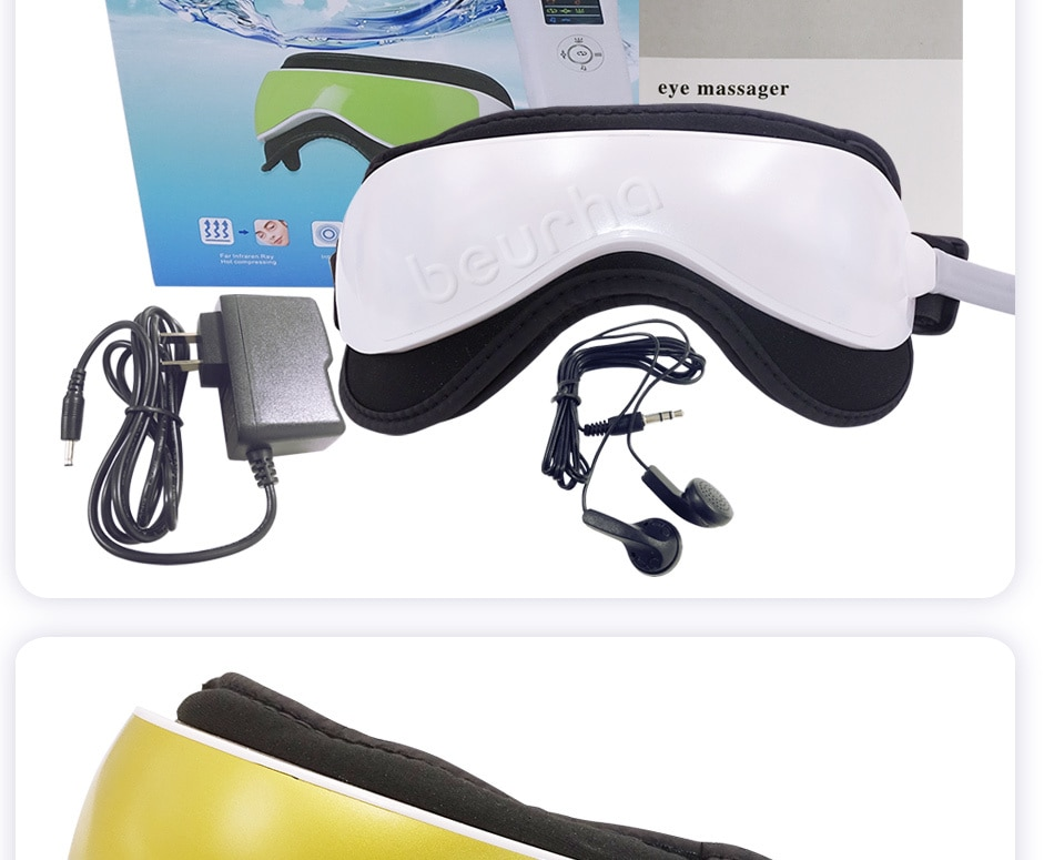 Dropshipping Eye Massager Eye Mask Music Magnetic Air Pressure Infrared Heating Massage Glasses Electric DC Eyes Care Device