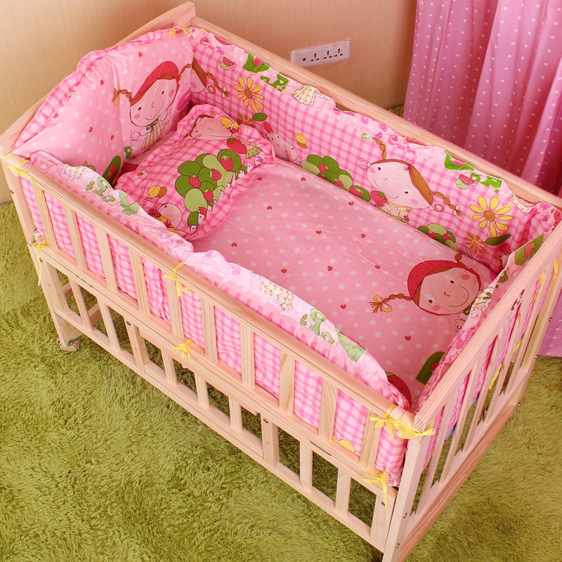 5PCS/set 120x60cm Infant Baby Bedding Set For Girl Boys Bedding Set Kids Baby Bed Bumper Baby Crib Bumper Baby Cot Set CP02