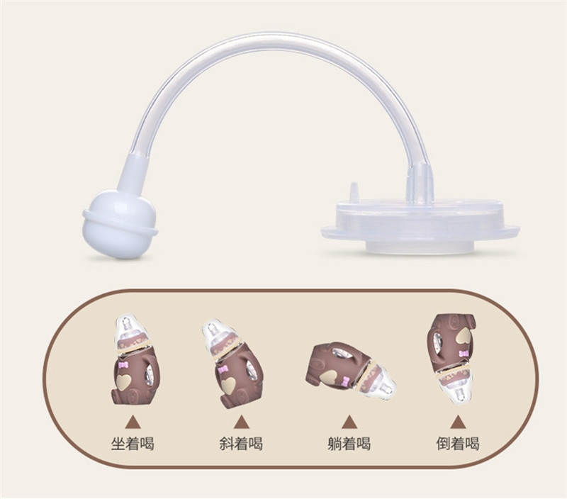 Hot Infant Baby Cute Feeding Glass Bottle Safe Silicone Milk Bottle With Handle Soft Mouth Newborn Drink Training Feeding Bottle