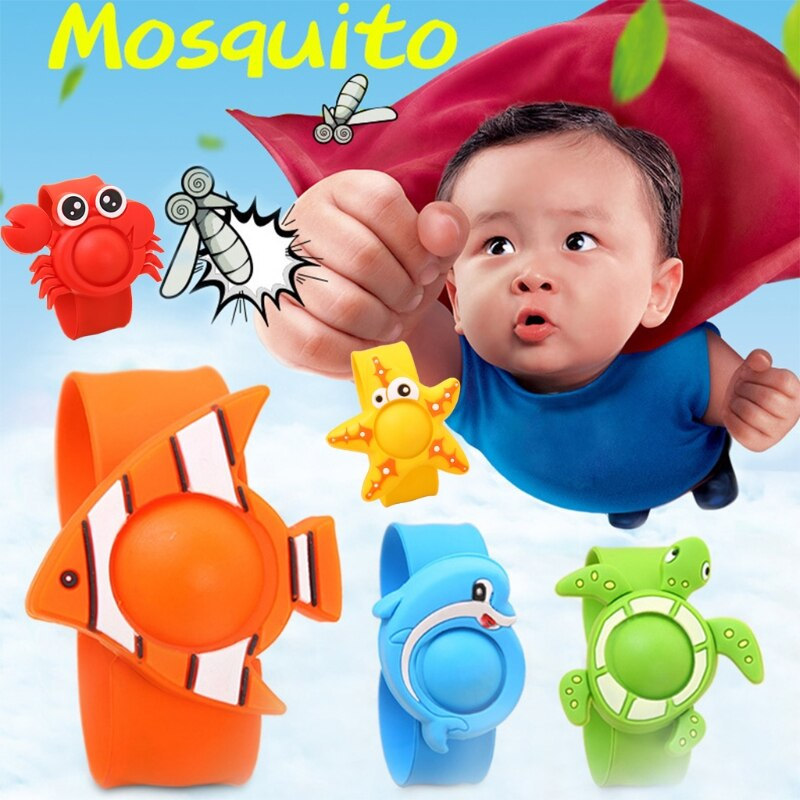 Summer Cartoon Silicone Kids Baby Mosquito Repellent Killer Bracelet Wristband