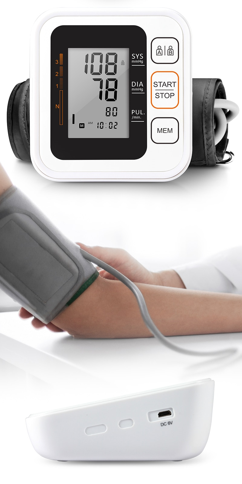 Cigii Portable Digital Upper Arm Blood Pressure Monitor Heartbeat test Health care monitor 2 Cuff Tonometer