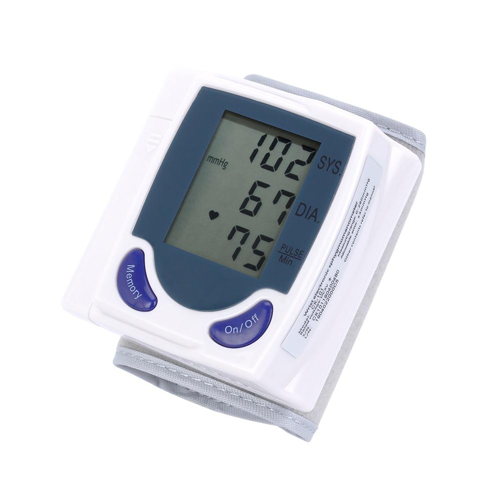 Household Automatic Digital LCD Display Wrist Blood Pressure Monitor Heart Beat Rate Pulse Meter Measure Portable Tonometer BP