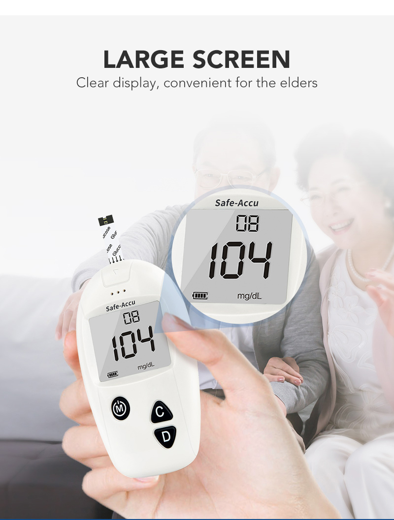 Sinocare CE Safe-Accu MMOL/L MG/DL Blood Glucose Meter Glucometer Diabetes Tester &Test Strips Lancets Medical Blood Sugar Meter
