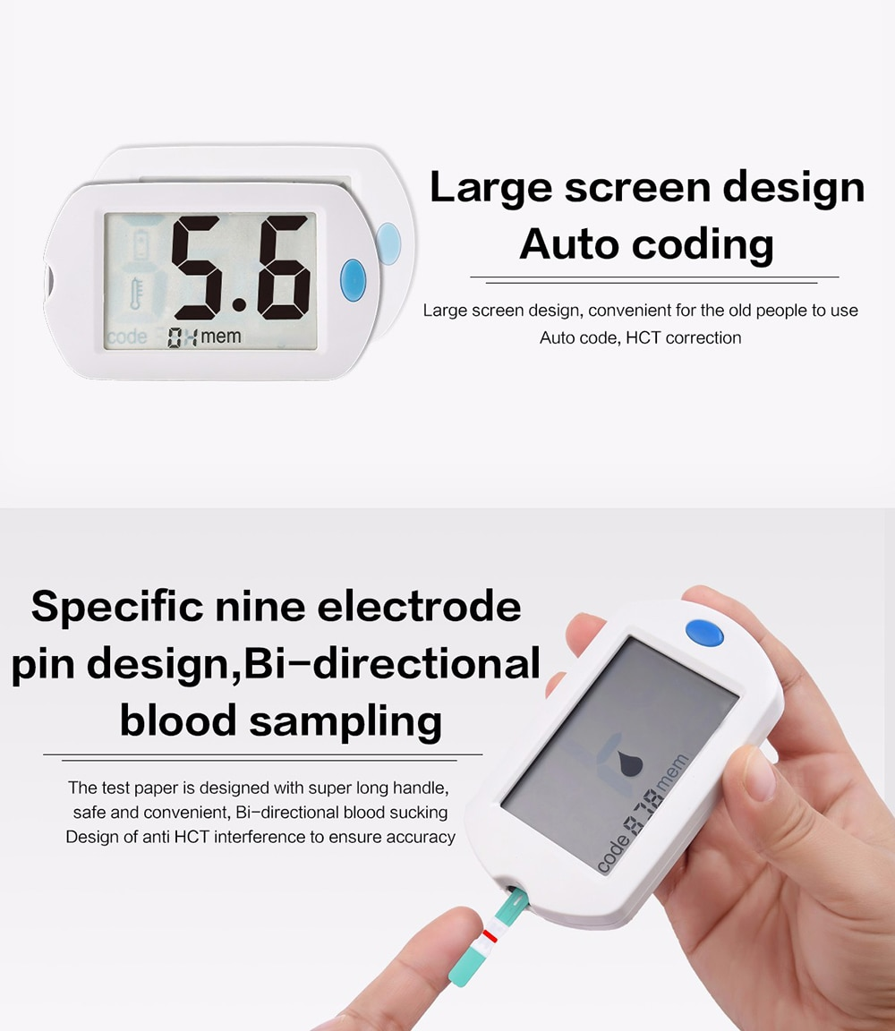 Smart Accurate mg/dL Blood Glucose Meter with Bottled Stripes and Lancets GLM-75 Exact English Guide Glucometer Diabetes Tester