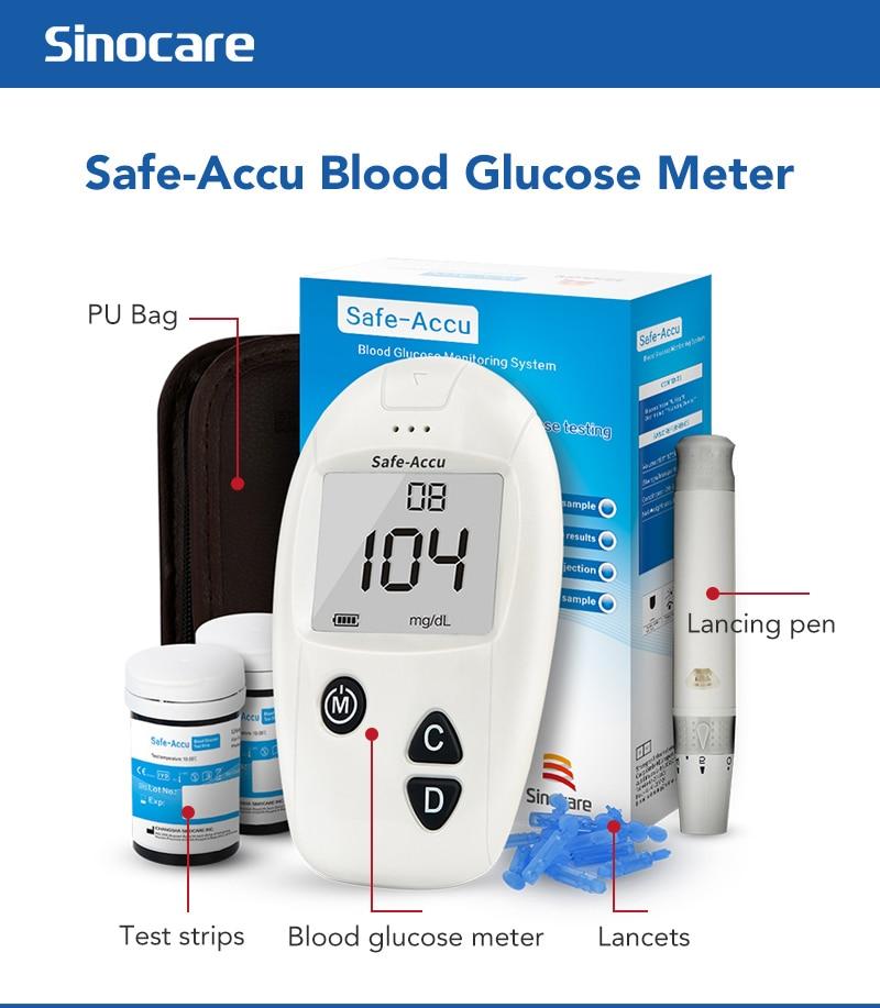 SINOCARE Accu blood glucose meter & Test Strips & Lancets 50/100pcs Glucometer kit Diabetic Blood Sugar meter Diabetes Tester
