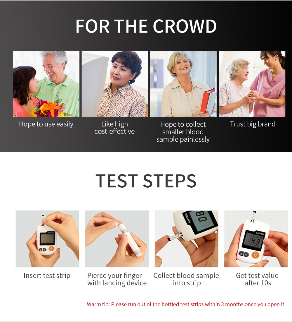Sinocare GA-3 Blood Glucose Meter Glucometer Kit and Test Strips Needles Sugar Monitor Diabetes Tester Home Medical Device