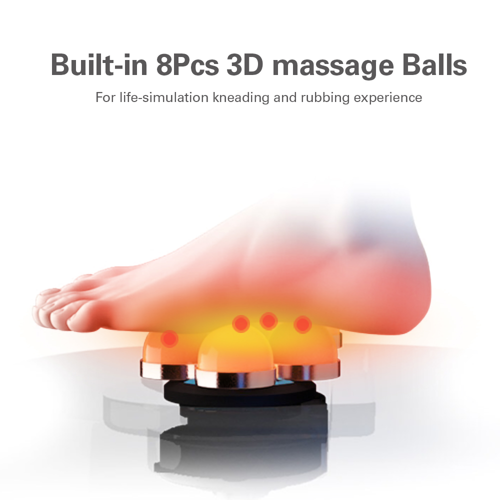 Electric Foot Massager Infrared Heating Shiatsu Knead Roller Leather Feet Back Massage Machine Summer Winter 8pcs3D Massage Ball