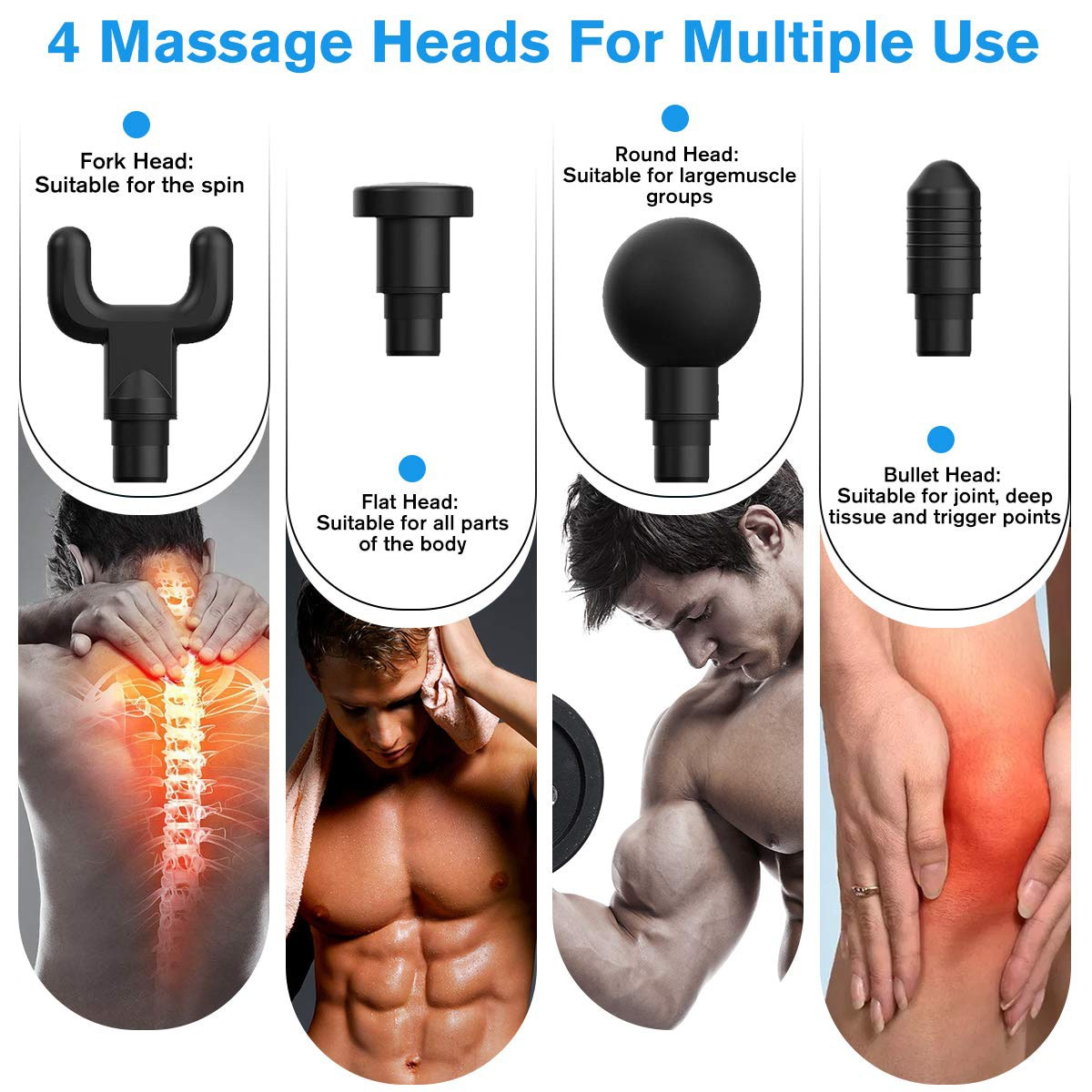 Muscle Massage Gun Sport Therapy Massager Body Relaxation Pain Relief Slimming Shaping Massager 4 Heads With Bag