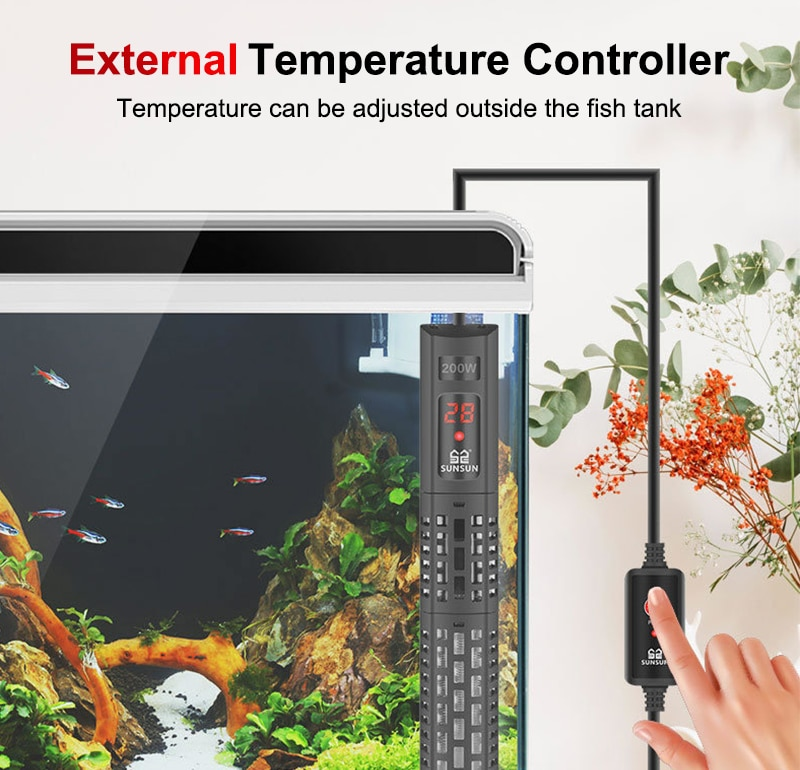 SUNSUN Aquarium Heating Rod Intelligent LCD Display Digital Adjustable Constant Temperature Control Fish Tank Submersible Heater