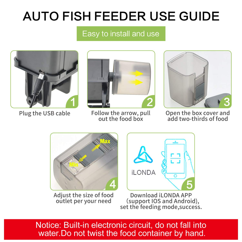175ml Automatic Fish Feeders for Aquarium Turtle Tank Programmable Timer Auto Fish Food Dispenser WIFI Control Feeding Device