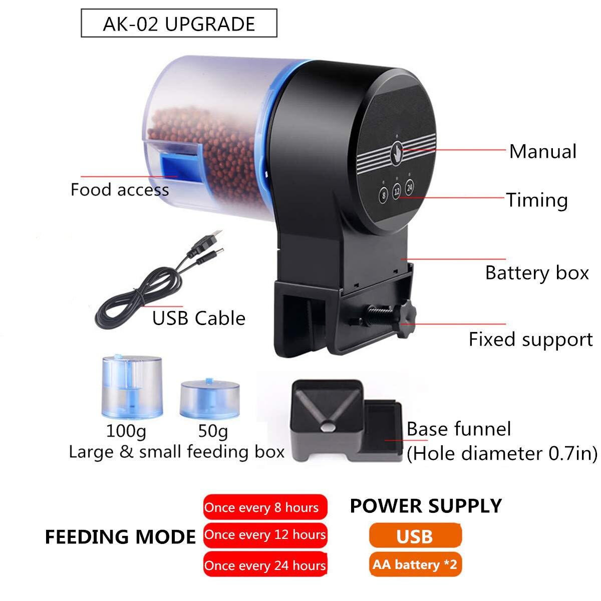 SUNSUN Automatic Fish Feeder Aquarium Tank WIFI Timer Feeders Moisture-Proof Electric Auto Food Dispenser Mobile App Control