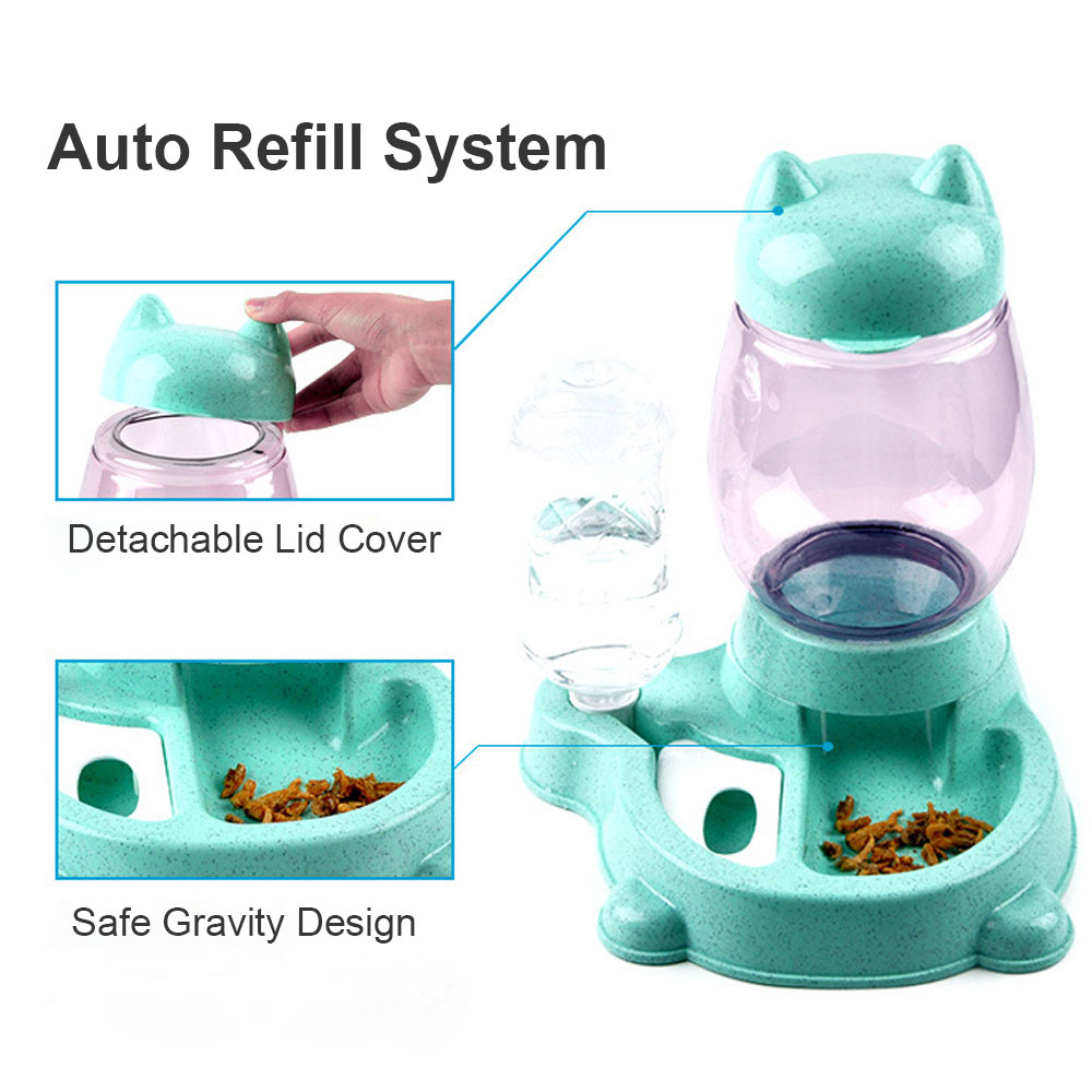 2 in 1 Automatic Cat Feeder Pet Drinking Bowl Food Water Dispenser Large Capacity Cats Dogs Feeding Bowls Auito Feeder Device