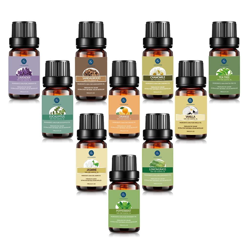 Lagunamoon 10Pcs/kit Pure Essential Oils Gift Set With Travel Bag Humidifier Massage Orange Peppermint Tee Tree  Lavender Lemon