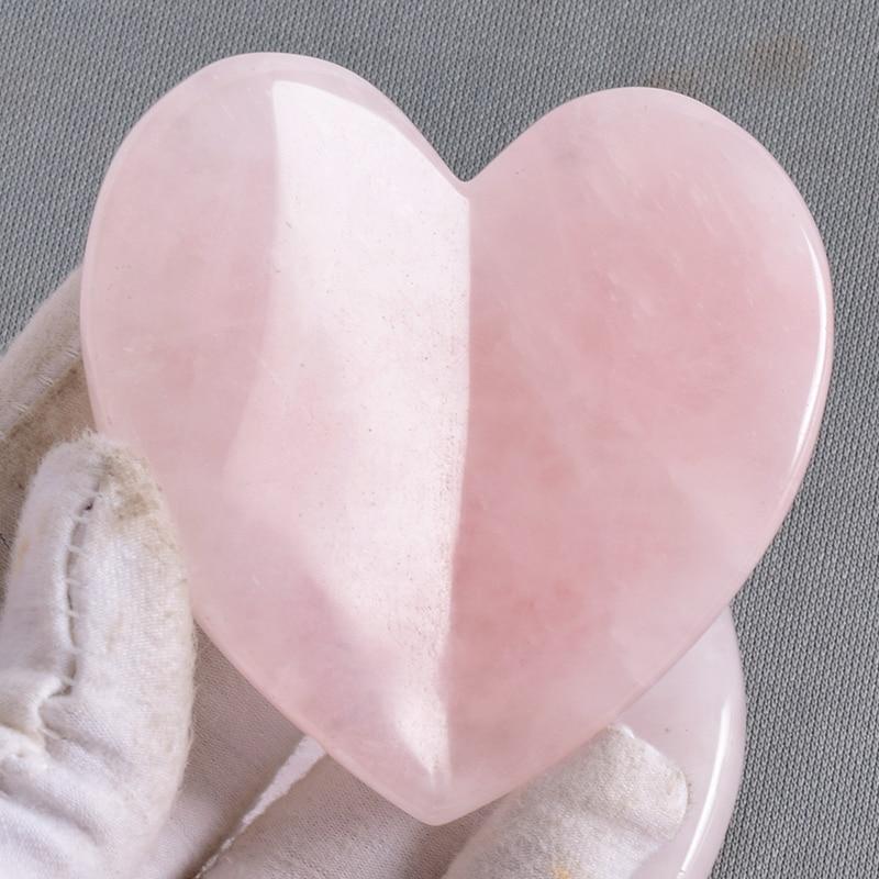 Big Size Love Heart Gua Sha Tool Natural Rose Quartz Massage Face Neck Body SPA Acupuncture Scraping Healing Stone Health Care