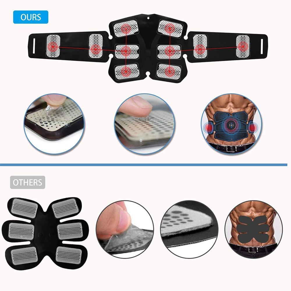 Abdominal Muscle Stimulator Trainer EMS Abs Weight Loss Fitness Equipment Training Electrostimulator Toner Exercise Gym Set