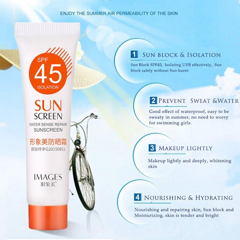 New SPF 45+ Moisturizing Refreshing Non Greasy Sunscreen Light Breathable UV Protection Skin Cream Facial Body Sunscreen TSLM1