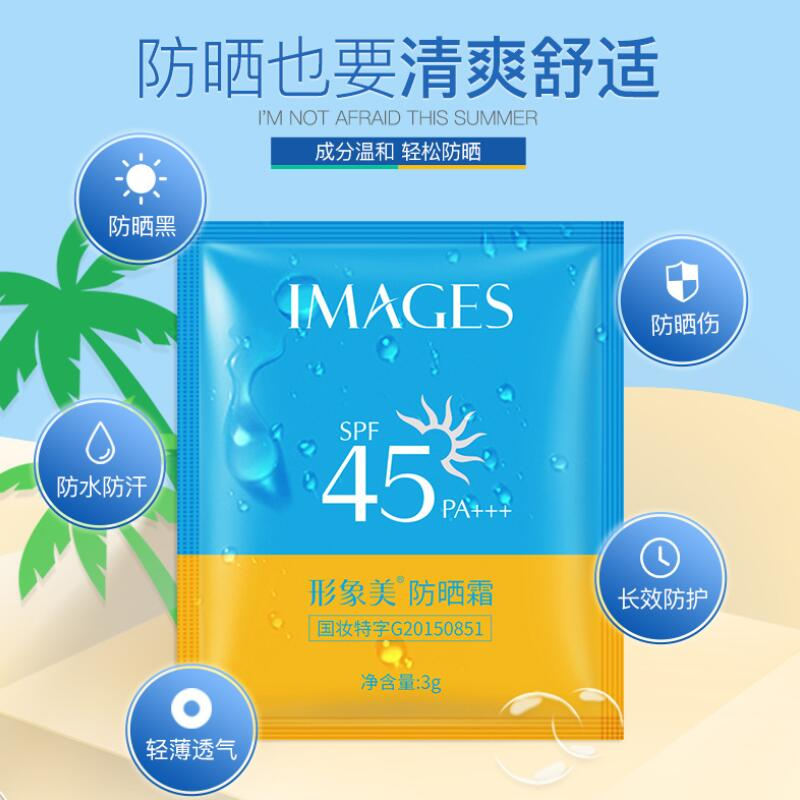 images 10PCS Sunscreen Cream SPF45+ Isolation UV Sunblock Body Sunscreen Concealer Water Resistant Oil Control