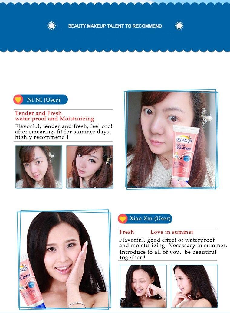 Bioaqua Facial Sunscreen Creams sun lotion tanning oil SPF 30 Isolation UV Sunblock Body Sunscreen Concealer waterproof uva uvb