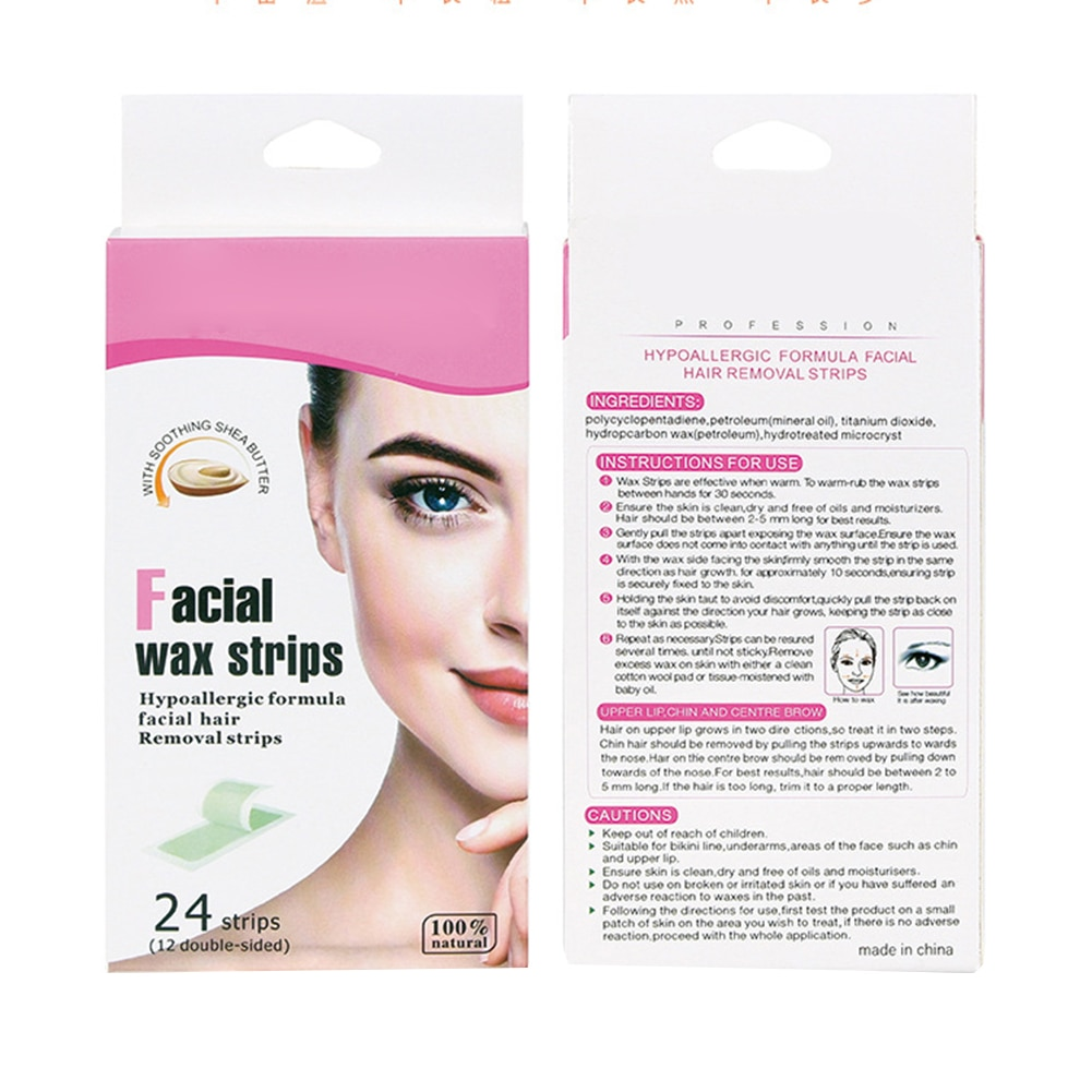 24Pcs Summer Professional Hair Removal Wax Strips Waxing Wipe Sticker for Face Leg Lip Eyebrow Depilation