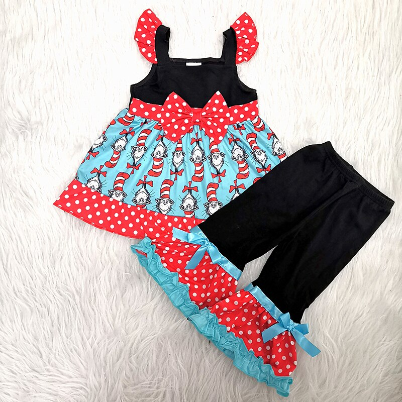 Hot Sale New Design Cotton Ruffle Pants Sets Girls' Clothing Sets Baby Knit Girls Cartoon Bow Design Pictures Kids Clothing Set