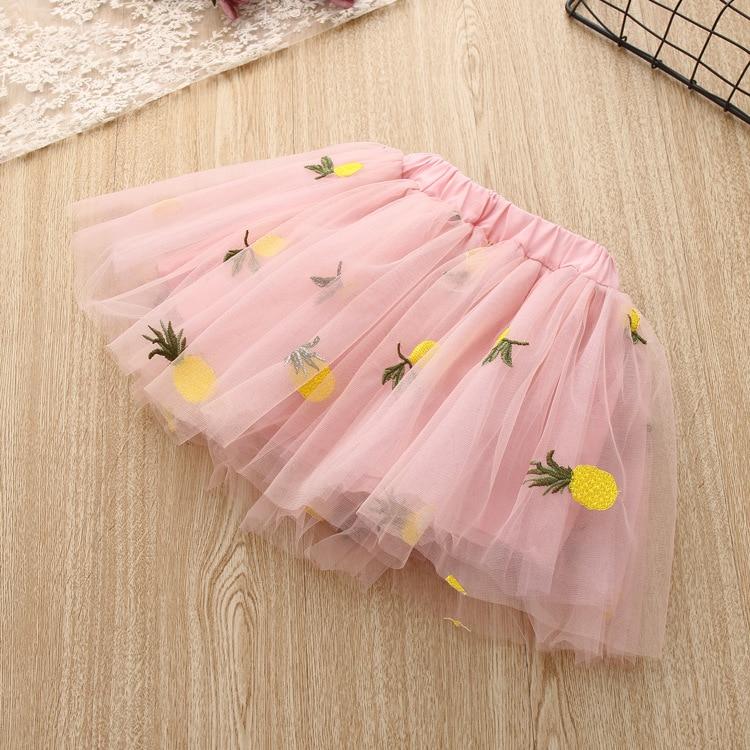 2020 Summer Girls' Clothing Sets Elegant Princess Cartoon Embroidered T-shirt+Gauze Skirt 2PCS Children Baby Kids Clothes Suit