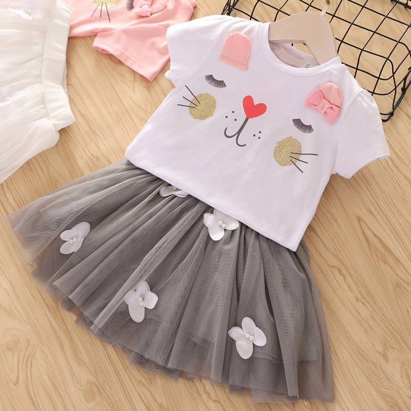 2020 Summer Girls' Clothing Sets Elegant Princess Cartoon Embroidered Top+Gauze Skirt 2PCS Children Baby Kids Girls Clothes Suit