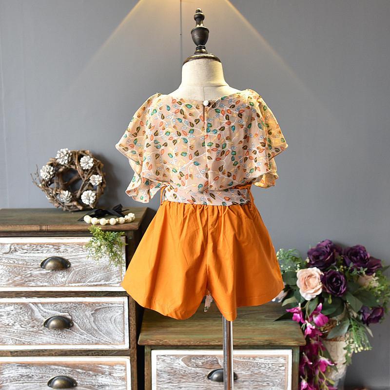 Summer Girls' Clothing Sets Fashion Korean Chiffon Short-sleeved+ Pants 2PCS Baby Kids Clothes Suit Children Clothing