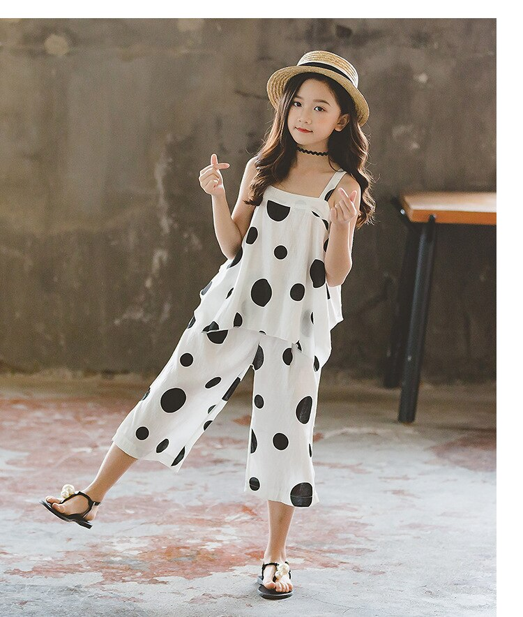 New Girls' Clothing Set Summer Fashion Cotton Polka Dot Shirt and Wide Leg Pants Clothes 2 Piece Set Baby Children's Clothes