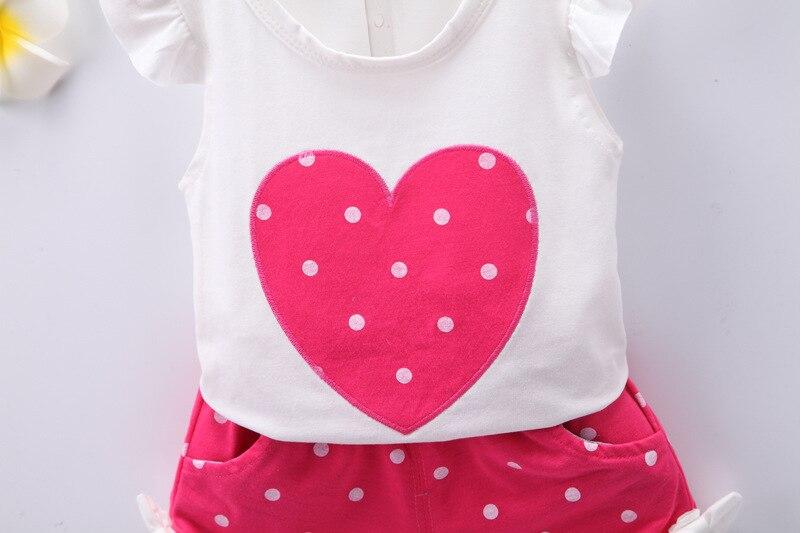 2020 Spring & Summer Girls' Clothing Sets Cute Korean Suspenders Jumpsuit Love Print Button Fashion Baby Kids Children Clothes