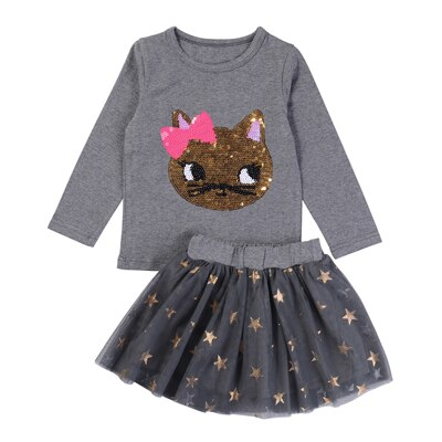 2020 Autumn Kids Baby Girl Clothes Long Sleeve T-shirt+Grid Skirt +bowknot Casual 3PCS suits Student Girls' Clothing Sets