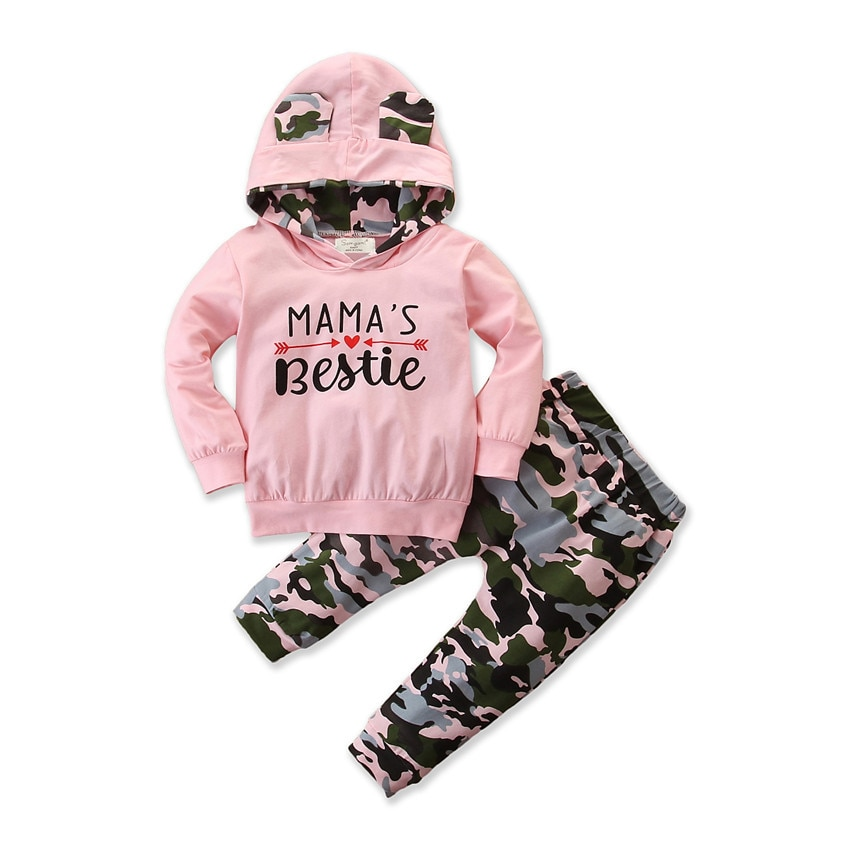 2020 children's clothing girls' spring and autumn hooded suit baby camouflage 2 piece set