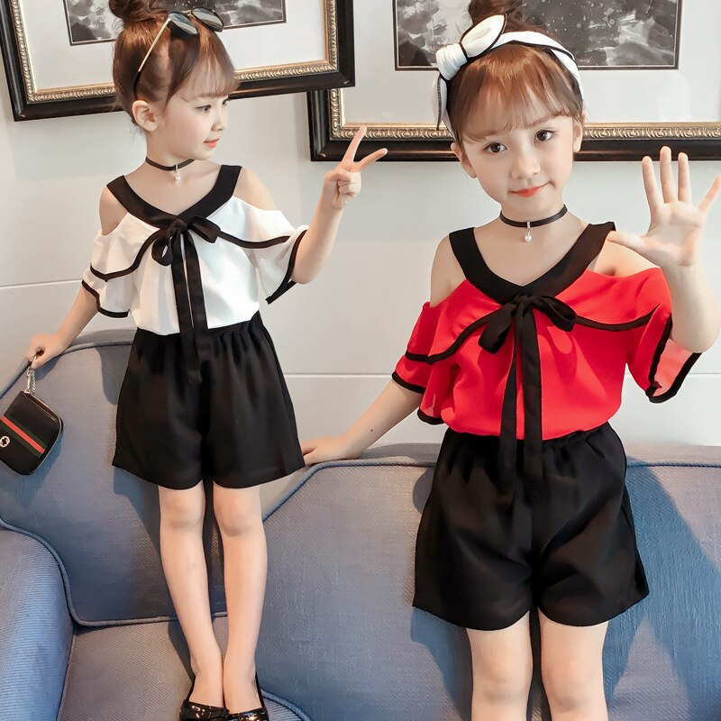 R&Z baby suit 2019 children's clothing girls' suit summer fashion new chiffon shirt short-sleeved shorts two-piece