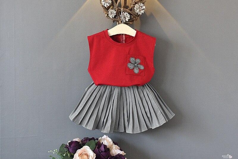 2pcs Baby Girl Clothes 2019 Hot Summer New Girls' Clothing Sets Kids Bay clothes Toddler sleeveless shirt+Plaid skirt
