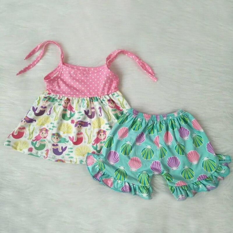 New Summer Girls' Clothing Sets Baby Clothes Cartoon Bind Belt Skirt  Ruffle Pants 2 Pcs Girls Children Clothes Sets