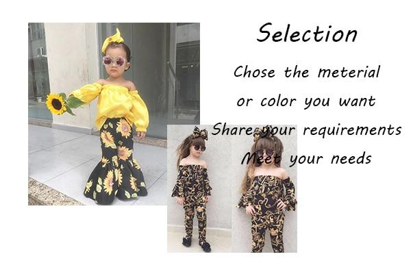 New Summer Girls' Clothing Sets Baby Clothes Cartoon Top Dress Big Ruffle Bell Bottom Pants 2 Pcs Girls Children Clothes Sets