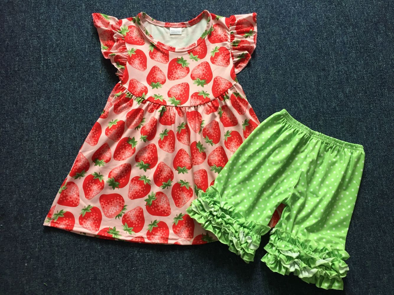 Baby girls' clothing set with green floral prints kids wear outfits bell pants