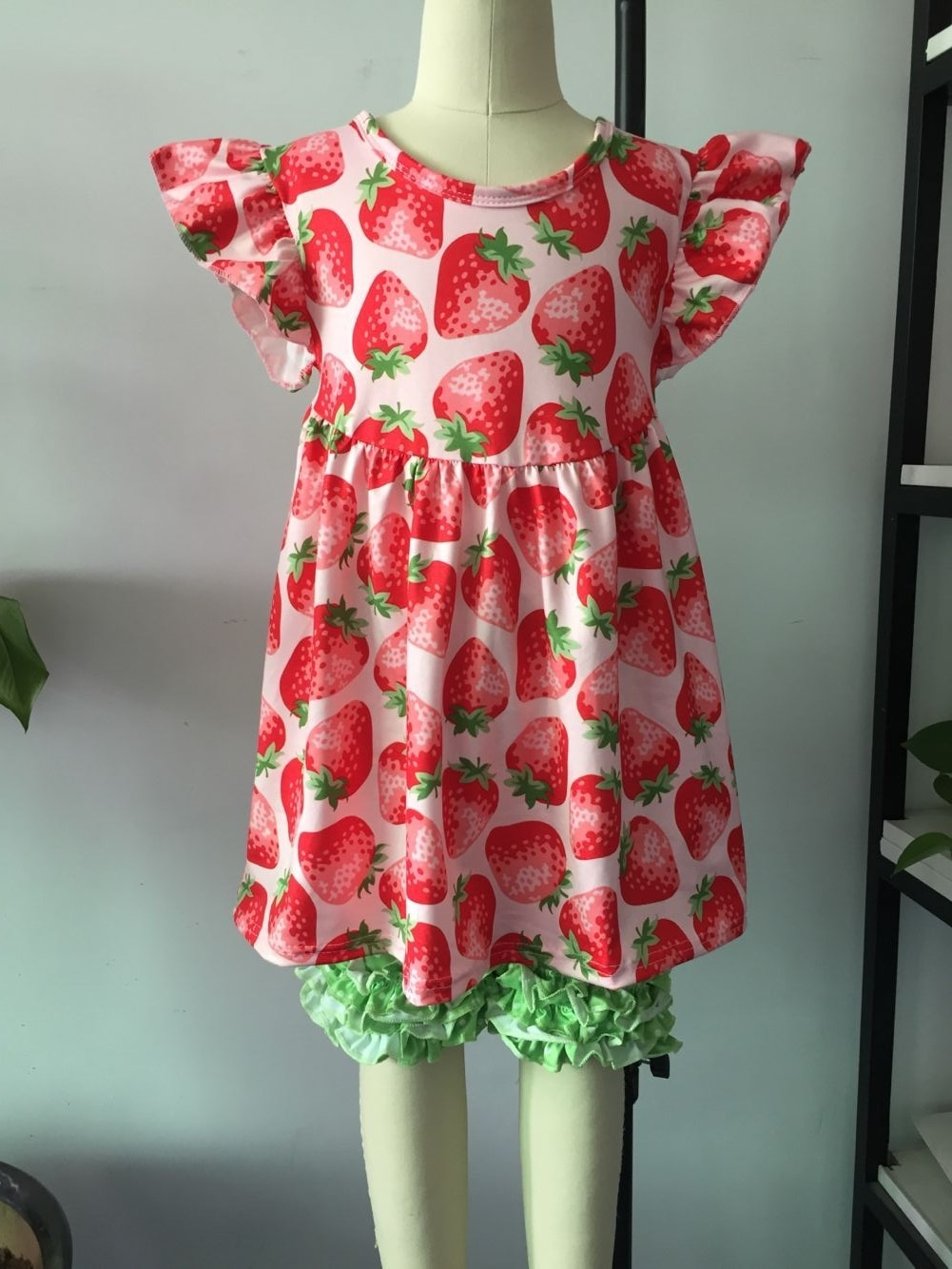 Valentine's Day kids wear clothing set with hear prints baby girls' outfits