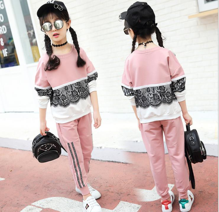 baby girl clothes Kid New sports girl suit, girls' Autumn wear, children's lace sweater, two pieces of children's clothing