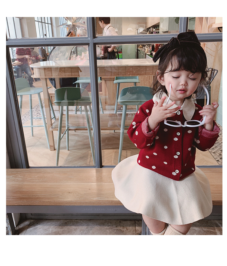 Girls' suit 2019 autumn new fashion children's clothing Korean version of baby girl cute suit dot cute pattern girl suit